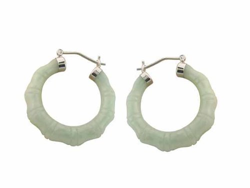 Light Green Jade Bamboo Hoop Earrings, 925 Sterling Silver