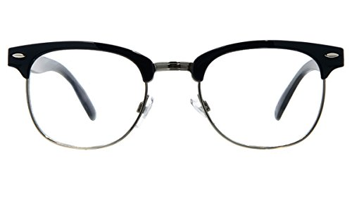 95d50f959c Retro Horned Rim Retro Classic Nerd Glasses Clear Lens (Semi-Rimless Black