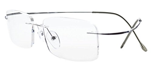 Eyekepper Titanium Rimless Eyeglasses Men Women Silver (Rimless Eyeglasses Temples)