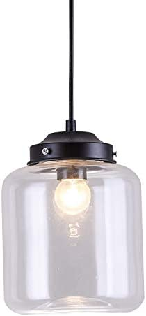 INJUICY Clear Glass Pendant Lights, Vintage Candy Jar Ceiling Lamps Fixtures for Balcony, Stairs, Cafe, Bar, Bedrooms