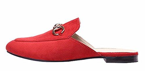 Velvet Toe Summer Women's Closed on Flat Shoes Slip Comfort Red Jiu Sandals Slippers Casual du Y6qBAwA