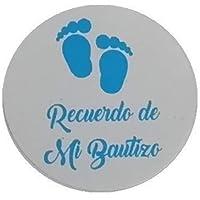 Etiquetas adhesivas azules para Bautizo - Huellas