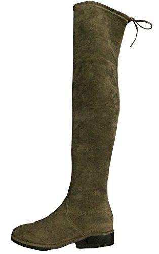 Katilyn Pan Kaitlyn Pan Womens Microsuede Flat Heel Over The Knee Stivali Alti Coscia Verde Militare
