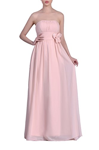 Adorona Chiffon Dress Women's A Line Rosa Strapless Babyrosa Long HrnHqT5aw