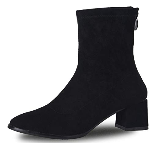 Women's Western Ankle Booties Suede Chunky Block High Heel Mid Calf Back Zipper Short Boots Black Size US 8 EU39 ()
