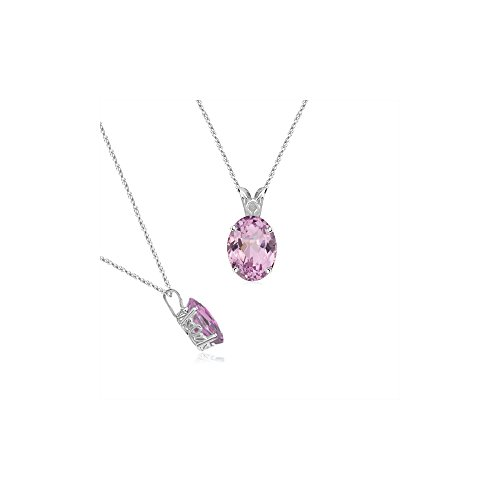 6.50-7.00 Cts of 13x10 mm AA+ Oval Kunzite Scroll Solitaire Pendant in 14K White - Necklace White Kunzite