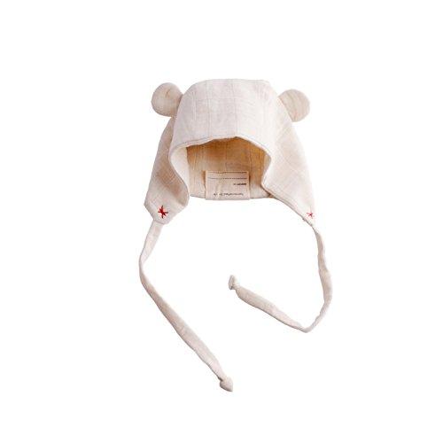 (EllieFunDay Bear Bonnet Hat, Pink Peony, 0-6 M)
