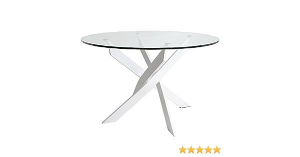Mesa redonda Petra 120 cm color Blanco, patas metálicas, cristal templado: Amazon.es: Hogar