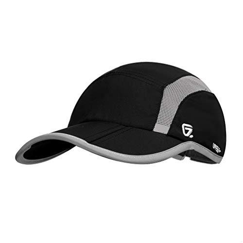(GADIEMENSS Quick Dry Sports Hat Lightweight Breathable Soft Outdoor Running Cap (Folding series, Black))