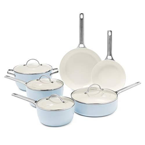 GreenPan Padova Ceramic Non-Stick 10Pc Cookware Set, Light Blue –