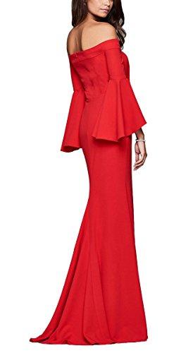 Tenedor Rojo Trompeta Mangas Vestido Largo Playa Maxi Cóctel Falda Tirantes Verano de Fiesta Lateral Sin Boda Mujer Minetom Elegante Noche tHYFFq