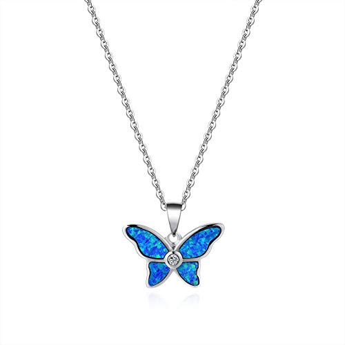925 Sterling Silver Butterfly Pendant - Fancime 925 Sterling Silver Butterfly Necklace Blue Created Opal Danity Pendant Jewelry For Women Girls 18