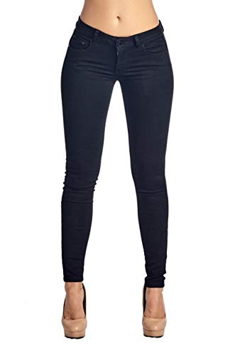 2LUV Women's Stretchy 5 Pocket Skinny Color Uniform Pants Black 11 ()