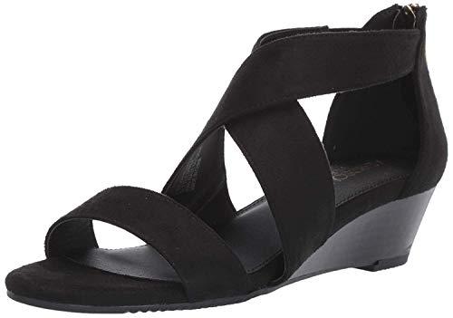 prentice Wedge Sandal, Black Fabric, 6 M US ()