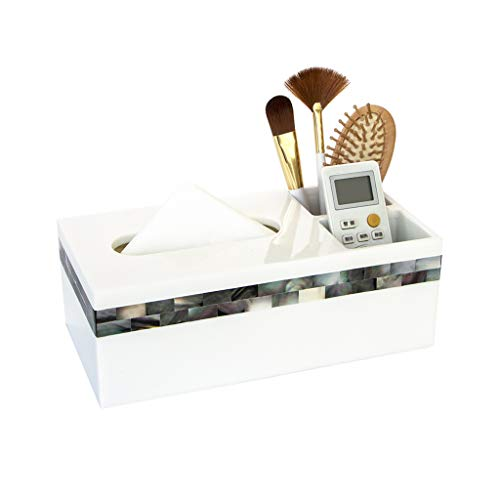 - ZH Dressing Table Resin Tissue Box Holder Inlaid with Black Shell Magnet Adsorption Bottom Multi-Function Waterproof Bathroom Tissue Organization (Size : 26x13x9cm)
