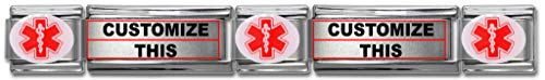 - Dolceoro Customized Medical Alert Links - Stainless Steel Italian Modular Charm with Enamel Insignia & Two Super Links