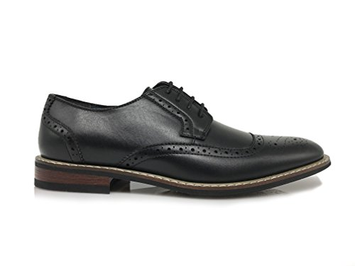 Wood05n Heren Klassieke Geperforeerde Prins Lace Up Wingtip Cap Teen Oxford Dress Schoenen Zwart