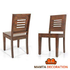 Mamta Decoration Solid Sheesham Wood Dining/Balcony Chairs for Home and Office | Teak Finish | Set of 2