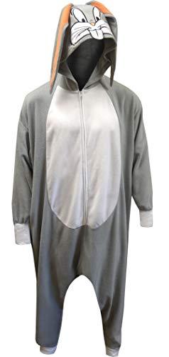 Warner Bros Men's Looney Tunes Bugs Bunny Onesie Kigurumi Pajama (One Size) Gray -