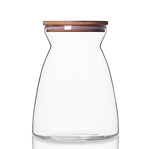 oneisall Glass Storage Jar with Wood Lid & Silicon Ring, Foo