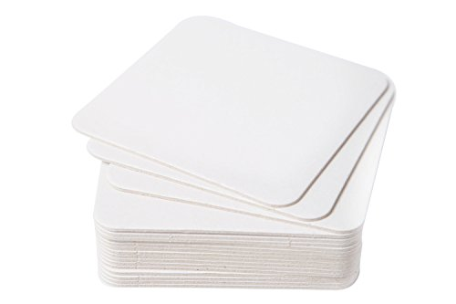 BAR DUDES Cardboard Coasters 100 Pack 4''x4'' Square - White Blank Coasters Bulk Set - Paper Coasters for Drinks, DIY, Kids Arts and Crafts by BAR DUDES (Image #2)