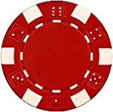DA VINCI 50 Clay Composite Dice Striped 11.5 Gram Poker Chips, Red