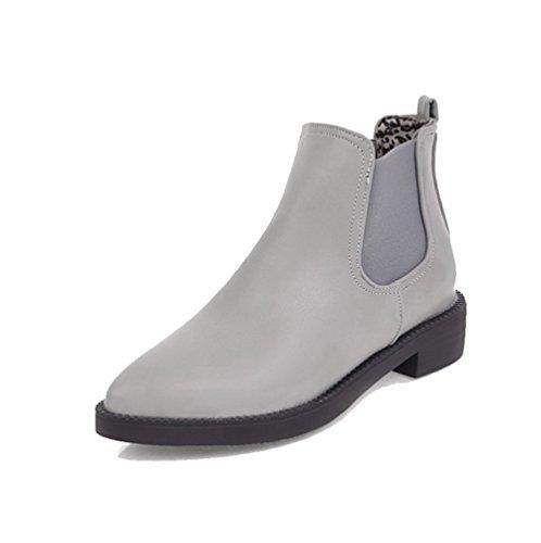 VogueZone009 Damen Rein Blend-Materialien Mittler Absatz Ziehen auf Spitz Zehe Stiefel, Cremefarben, 38