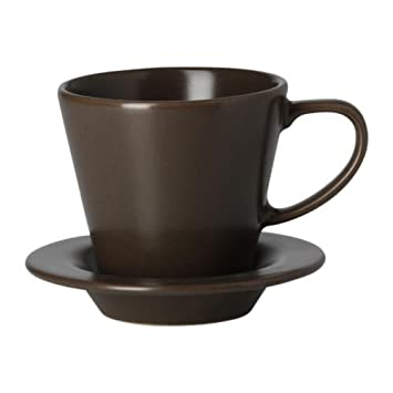 IKEA DINERA - Coffee cup and saucer, earthenware brown / 6 pack - 18 ...