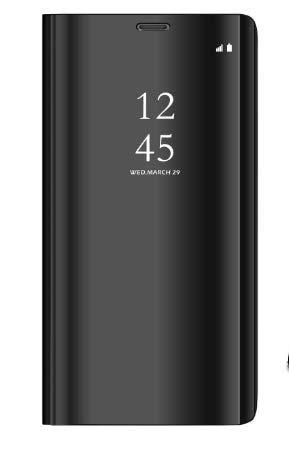 Meimeiwu Modelo inteligente Fecha - Hora Ver Espejo Funda de espejo Flip Case Carcasa para Samsung Galaxy S9 - Negro