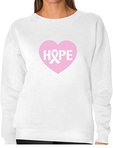 (Tstars Hope Breast Cancer Awareness Heart Shaped Pink Ribbon Women Sweatshirt Large White)