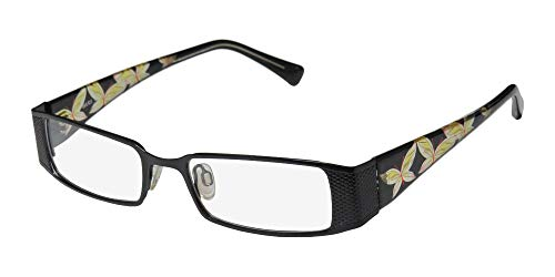D&A Adiva Dv21 Womens/Ladies Optical Classy Designer Full-rim Eyeglasses/Eyeglass Frame (50-18-140, Black / Yellow / Clear)  (D-frame Brille)