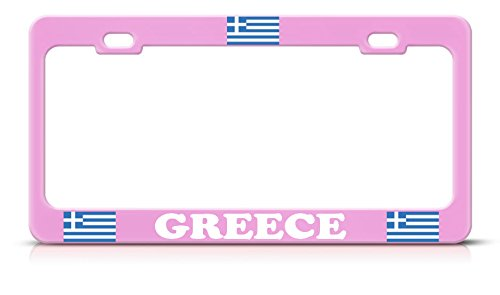 Moon Greek Flag Greece Heavy Duty Steel Soft Pink License Plate Frame Tag Border Perfect for Men Women Car garadge Decor