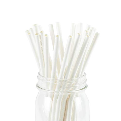 White Paper Straws Biodegradable Disposable Party Decoration and Party Drinking Straws 100 Count for Wedding, Birthday Party or any Themed Party (White-100)