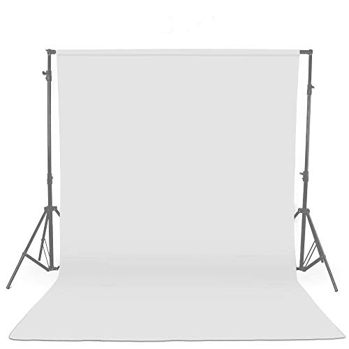 UTEBIT White 6x9Ft Cotton Fabric Photography Background Collapsible 1.8x2.8M Muslin Backdrop Cloth Not Reflective Screen Backdrops for Video Studio Portrait Shooting 180cm x 280cm