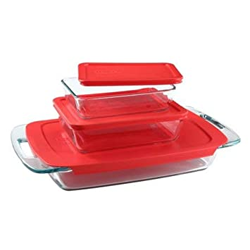 Pyrex Easy Grab Glass Oblong Baking Dish with Red Plastic Lid (2-quart) World Kitchen (PA) 1090948