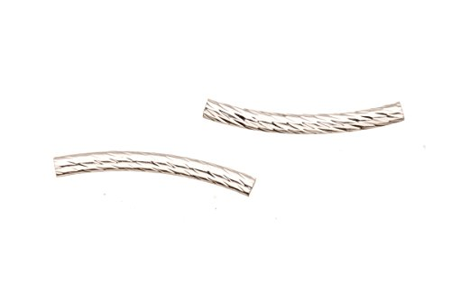 (Thick Tube Metal Tube Beads Silver Plated Round Curved Tube With Twist Patterned 3x30mm Sold per pack of 20)