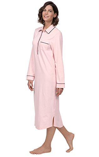 PajamaGram Nightgowns for Women Soft - Cotton Women Nightgowns, Pink, M, 10-12