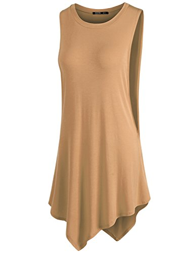TWINTH Womens Tunic Round Neck Casual Cami Tank Top Beige 4XL