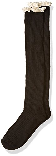 Jefferies Socks Big Girls Lace and Buttons Boot Knee High Socks, Black, Large