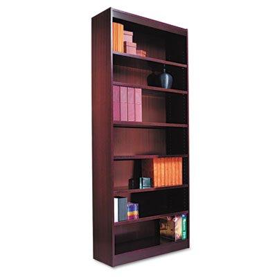 Alera ALEBCS78436MY Square Corner Wood Veneer Bookcase, Seven-Shelf, 35-5/8 x 11-3/4 x 84, Mahogany