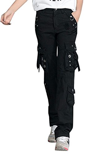 Tempo Outdoor Donna Monocromo Escursione Pantaloni Tuta Libero Da Fit Con Pantaloni Pantaloni Mode Accogliente Nero Slim marca Autunno di Dritti Primaverile Pantalone Eleganti Tasca Abbottonatura Multi rEgraqY
