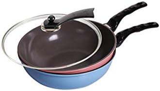Yougou01 中華鍋、フラットノンスティックフライパン、30cmローズカラー,絶妙なデザイン (Color : Blue)