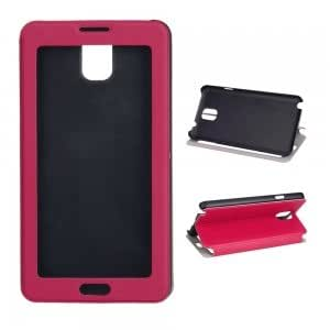 PU Leather and Plastic Touch Screen Protective Case for Samsung Note3 Rose Red