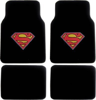 (A Set of 4 Universal Fit Plush Carpet Floor Mats for Cars / Trucks - Superman...)