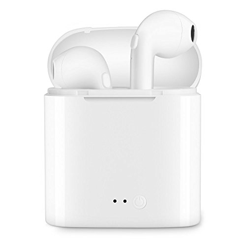 Bluetooth Headphones, ALINBIN Wireless Headphones Stereo In-Ear Earpieces with 2 Wireless Built-in Mic Earphone and Charging Case for Most Smartphones-White