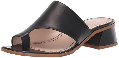 Kenneth Cole New York Women's Wellsi Peep Toe Slide Sandal Sandal, Black, 8.5 M US