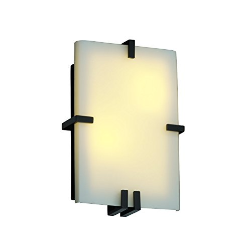 Justice Design Group Rectangular Sconce (Justice Design Group Lighting FSN5551OPALNCKL FusionCollection  Clips Rectangle Wall Sconce)