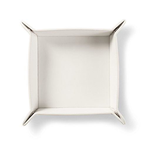 Square Valet Tray - Italian Leather Leather - Ivory (white)