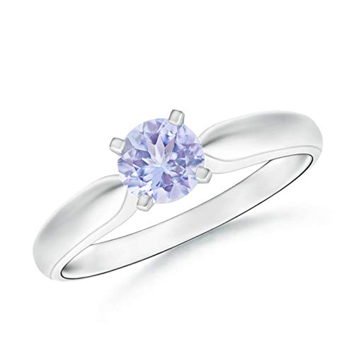 Solitaire Round Tanzanite Tapered Shank Ring in Silver (5mm Tanzanite)