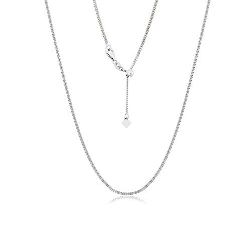 (Sterling Silver Italian Adjustable Cuban Curb Bolo Necklace Chain for Women- Thin Adjustable Necklace in 4 Colors (Silver))